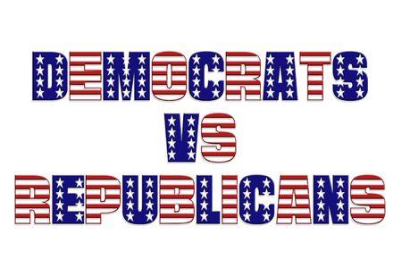 political system: Dem�cratas vs Republicanos palabras superpuestas con estrella y banda patr�n