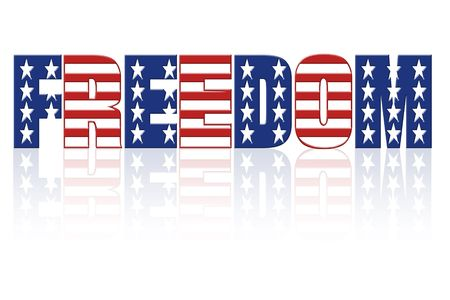 Freedom word with superimposed american flag star and stripe pattern Stock Photo - 2425685