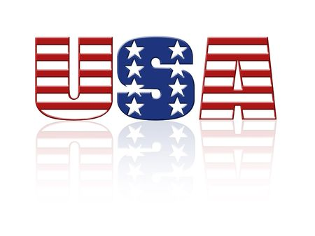 superimposed: USA word with superimposed american flag star and stripe pattern