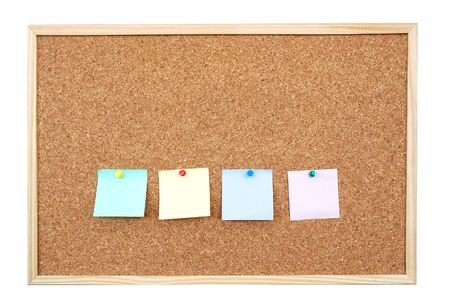 Four colorful blank post-it notes affixed to the corkboard - isolated on white Stock Photo - 2476235