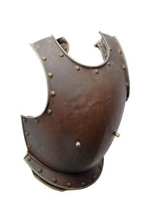 Old iron knights breastplate isolated on white