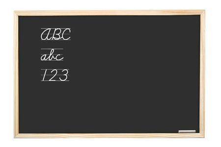 School blackboard with handwritten abc letters and 123  digits - isolated on white photo
