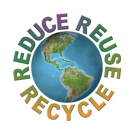 recycle reduce reuse: Mundo planeta rodeado por tres frases ecol�gicas - reducir-reutilizar-reciclar - concepto planeta limpio  Foto de archivo