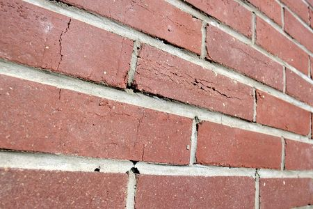 converging: Background of red brick wall - converging perspective