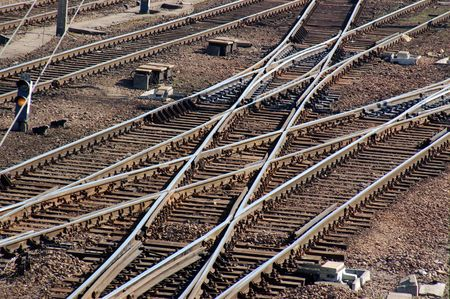 rail cross: Closeup shot of railroad turnouts Stock Photo