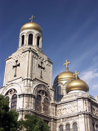 byzantine: The Assumption Cathedral of Modern Byzantine style in Varna, Bulgaria with golden domes