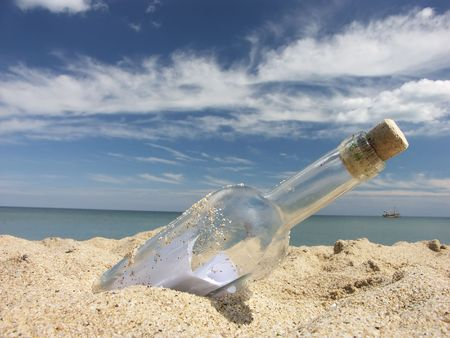 Message in the bottle washed ashore Stock Photo - 2773413