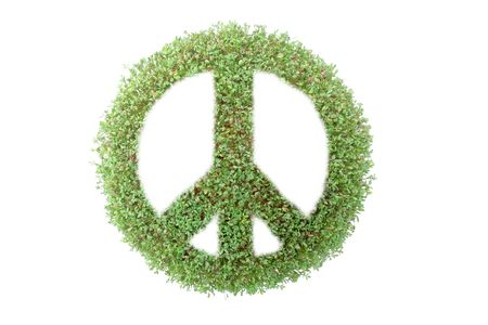 superimposed: Peace symbol superimposed on green plant isolated on white