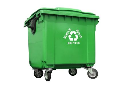 Green plastic trash container with white recycle symbol and reduce-reuse-recycle text - over white background Stock Photo