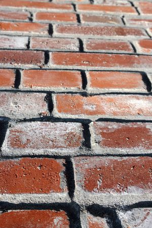 converging: Background of old red brick wall - converging perspective