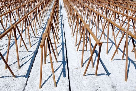 prefabricated: Prefabricated concrete floor beams with embedded reinforcement bar system