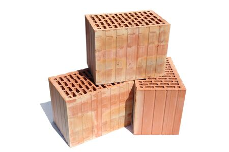 Three perforated bricks isolated on white background Stock Photo - 3029880