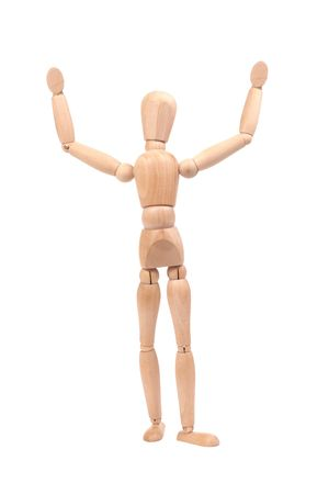 Wooden dummy holding hands up as a winner isolated on white background Stock Photo - 3122706