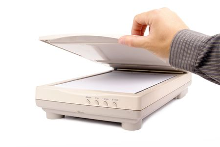 scanner: Office worker loading document page into flatbed scanner isolated on white background Stock Photo