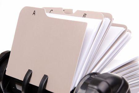 addresses: Closeup of revolving name card holder Stock Photo