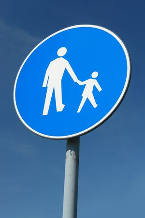 Child pedestrian roadsign over blue sky Stock Photo - 3122716