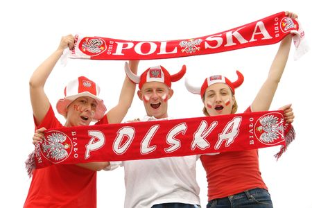Three young Polish soccer fans dressed in Polish national color t-shirts, caps and scarfs cheering on over white background Stock Photo - 3148597