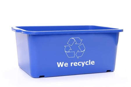 Blue plastic disposal bin with white recycle symbol - over white background photo