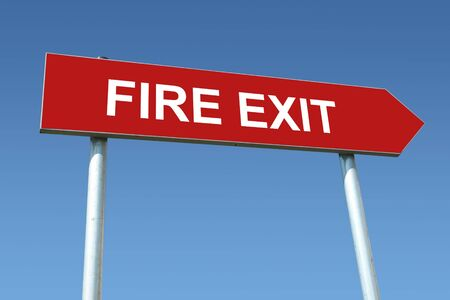 instruct: Red metal signpost spelling Fire Exit over blue sky Stock Photo