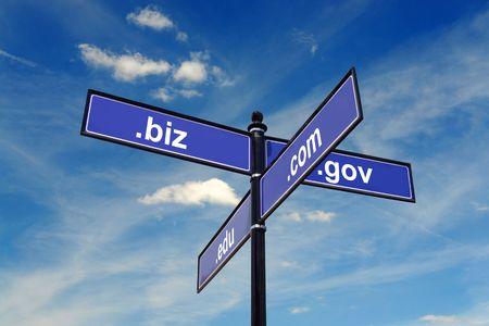 edu: Four-way metal signpost spelling COM, BIZ, EDU, GOV domains over blue sky