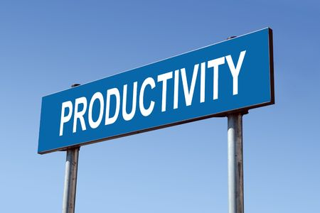 Metal roadsign spelling Productivity word over blue sky