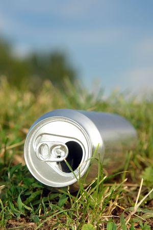 Vider la bière en aluminium, portant sur l'herbe