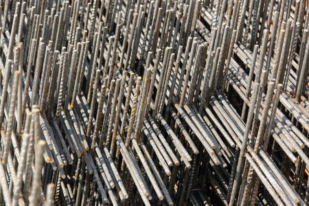 Closeup of steel reinforcement mesh Stock Photo