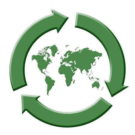Green three-arrow recycling symbol with world map Stock Photo - 3318519
