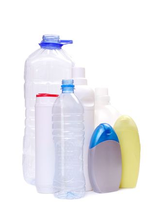 utilize: Assorted plastic bottles over white background Stock Photo