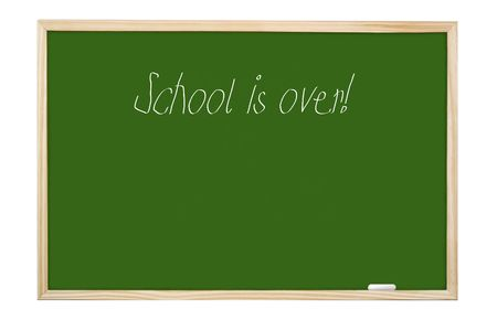 Green class board with School is Over handwriting - isolated on white photo