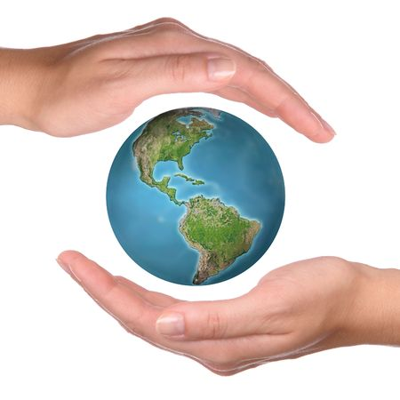 Earth globe between two hands - environmental protection concept