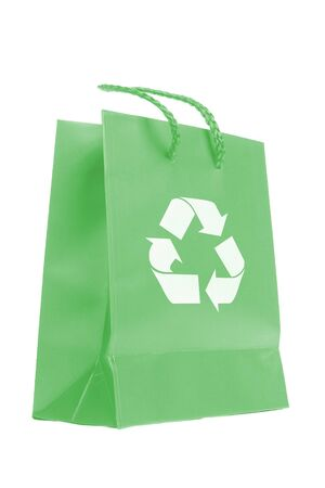 enviroment: Green paper bag with recycle symbol isolated on white background Stock Photo