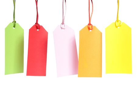 Five blank color shopping tags over white background Stock Photo