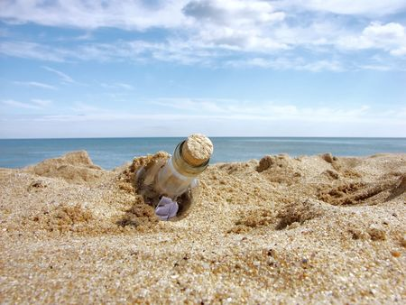 ashore: Message in the bottle washed ashore