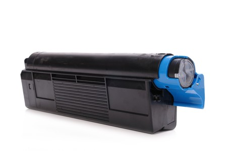 Laser printer toner cartridge shot over white background