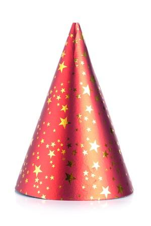 Rode papier feest kegel hoed op witte achtergrond Stockfoto