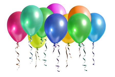 ballons: Bouquet de ballons color�s s'�lever dans l'air isol� sur blanc