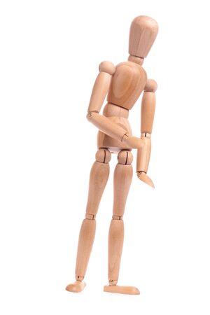 manequin: Wooden dummiy standing over white background Stock Photo