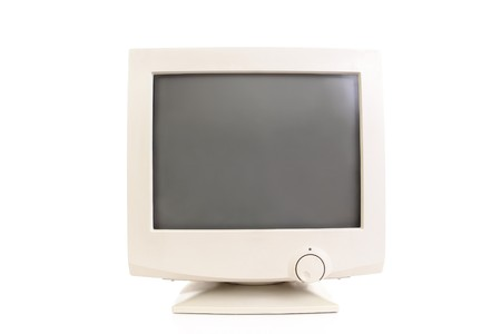 Old CRT monitor over white background Stock Photo