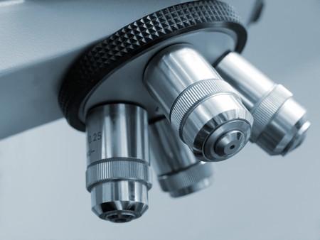 Closeup shot of electronic microscope revolving nosepiece  photo