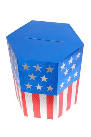Ballot box decorated with american flag star and stripe colors over white background Stock Photo - 4352789