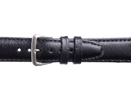 Closeup of mans fastened black leather pants belt shot on white photo