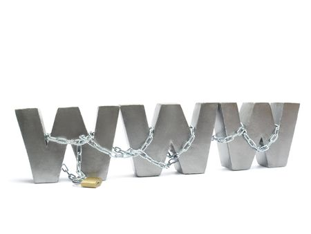 Three metal WWW letters chained and locked with golden padlock over white background photo