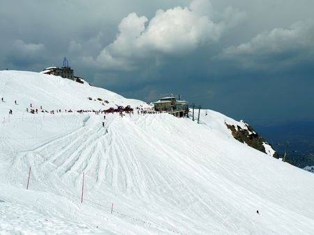 ski lift: Panoramic view of Kasprowy Wierch mountain with ski lift in winter time, Poland