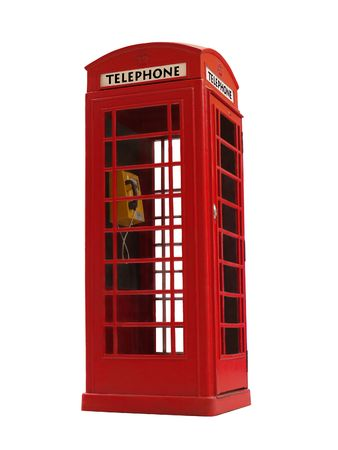 London style red public telephone booth isolated on white