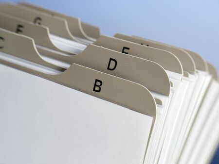 Closeup of revolving name card holder bookmarks