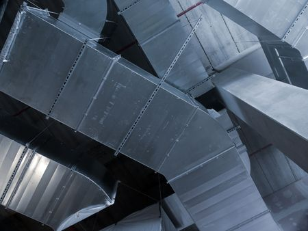 Closeup shot of steel air conditioning duct pipes 写真素材
