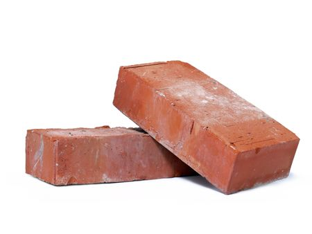 Two solid bricks shot on white background