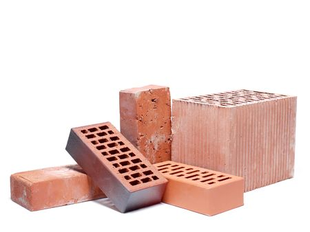 Solid and perforated bricks shot over white background Stock Photo - 5311917
