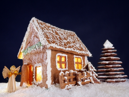 Little cottage and christmas tree made from gingerbread photo